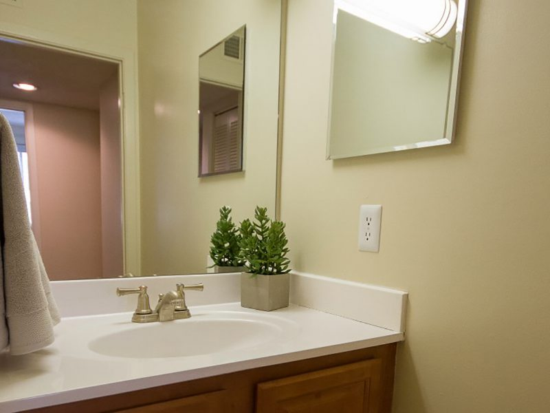 This image exhibits the premium apartment feature, particularly the bathroom area featuring the warm tone wall, elegant bathroom mirrors, and modern brushed nickel fixtures.