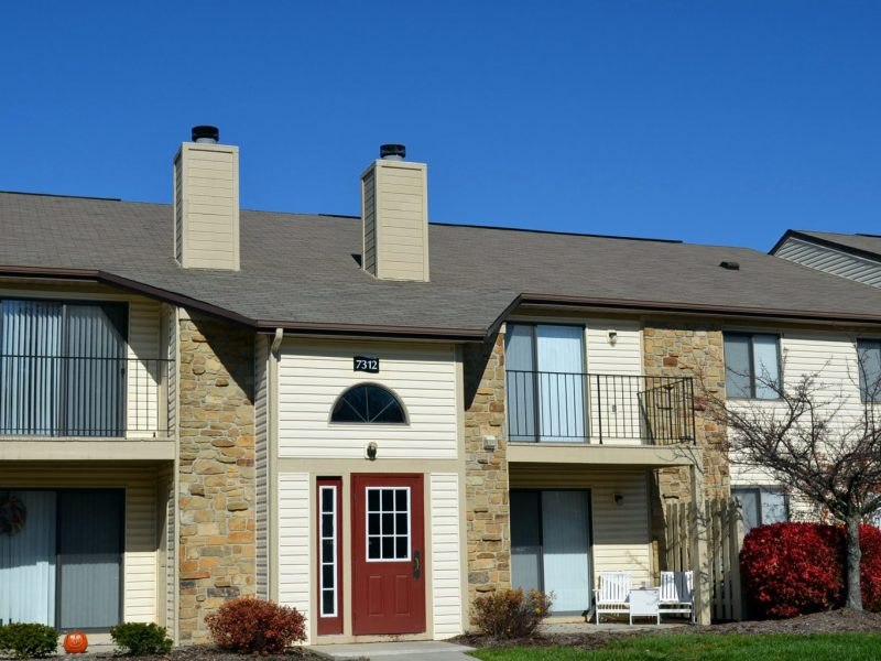 This image shows the landscape view of the TGM Shadeland Station Apartments in Indianapolis, IN.