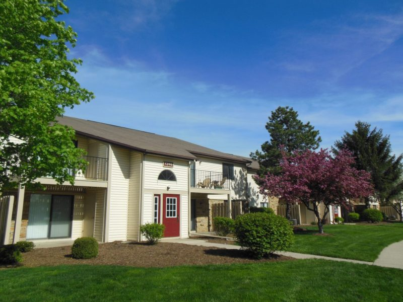 This image shows the landscape view of the cozy establishments in TGM Shadeland Station Apartments in Indianapolis, IN.