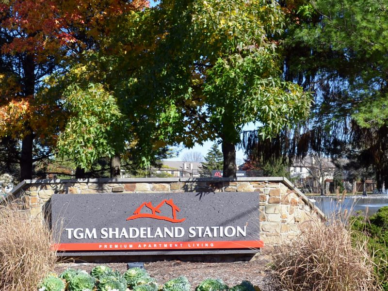 This image shows the monument of TGM Shadeland Station Apartments in Indianapolis, IN.