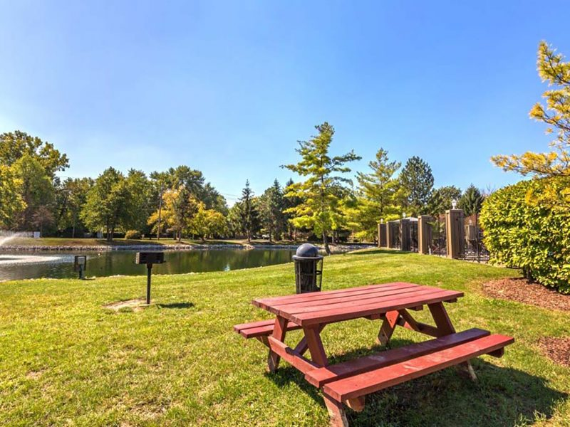 This image exhibits a relaxing view of the picnic area featuring a calm lake view and BBQ area that was perfect for a family and colleagues to stay.